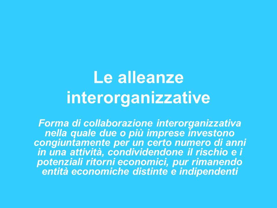 Le alleanze interorganizzative Forma di collaborazione interorganizzativa nella quale due o più imprese investono congiuntamente per un certo numero d
