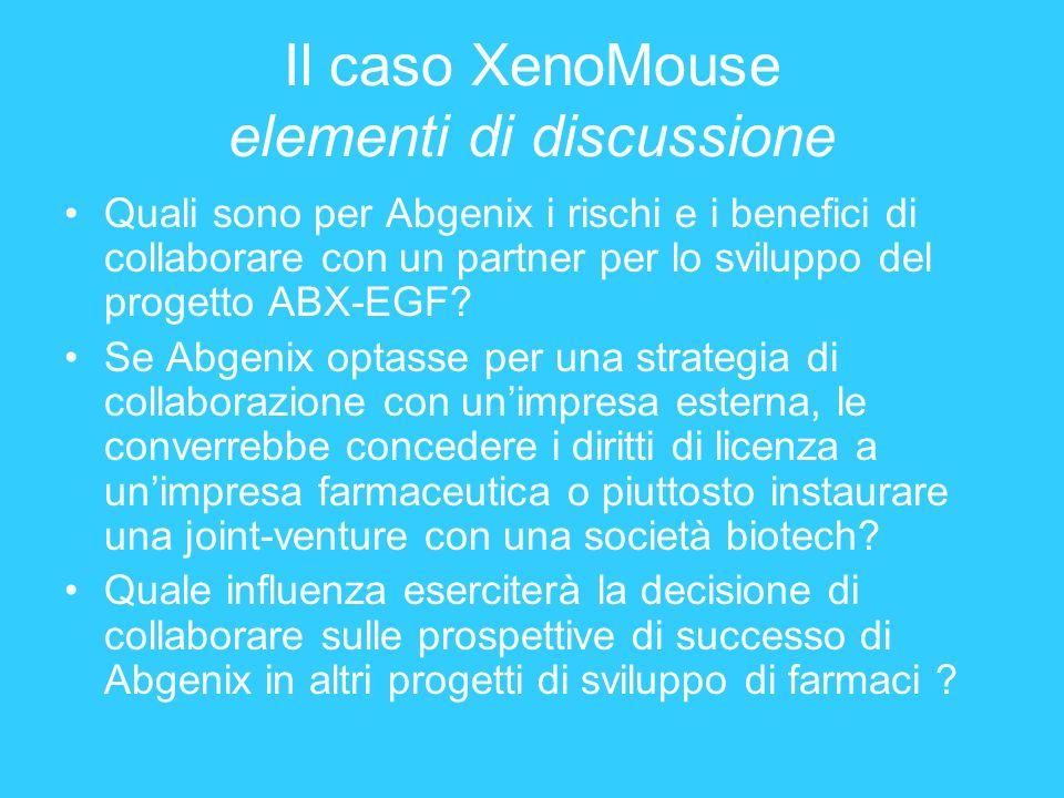 Il caso XenoMouse elementi di discussione Quali sono per Abgenix i rischi e i benefici di collaborare con un partner per lo sviluppo del progetto ABX-