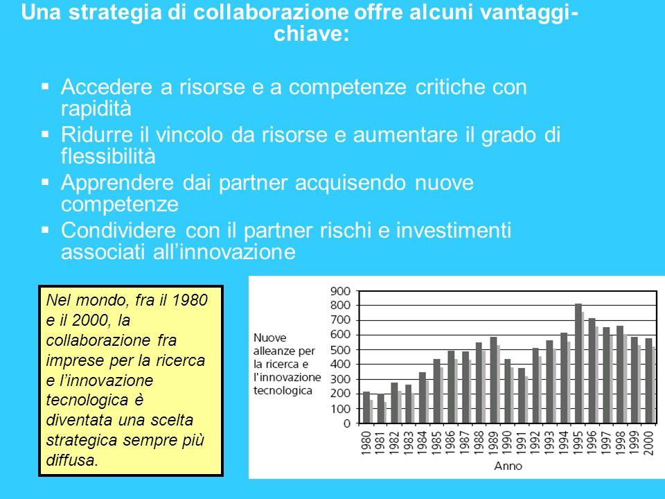 Una strategia di collaborazione offre alcuni vantaggi- chiave: Accedere a risorse e a competenze critiche con rapidità Ridurre il vincolo da risorse e