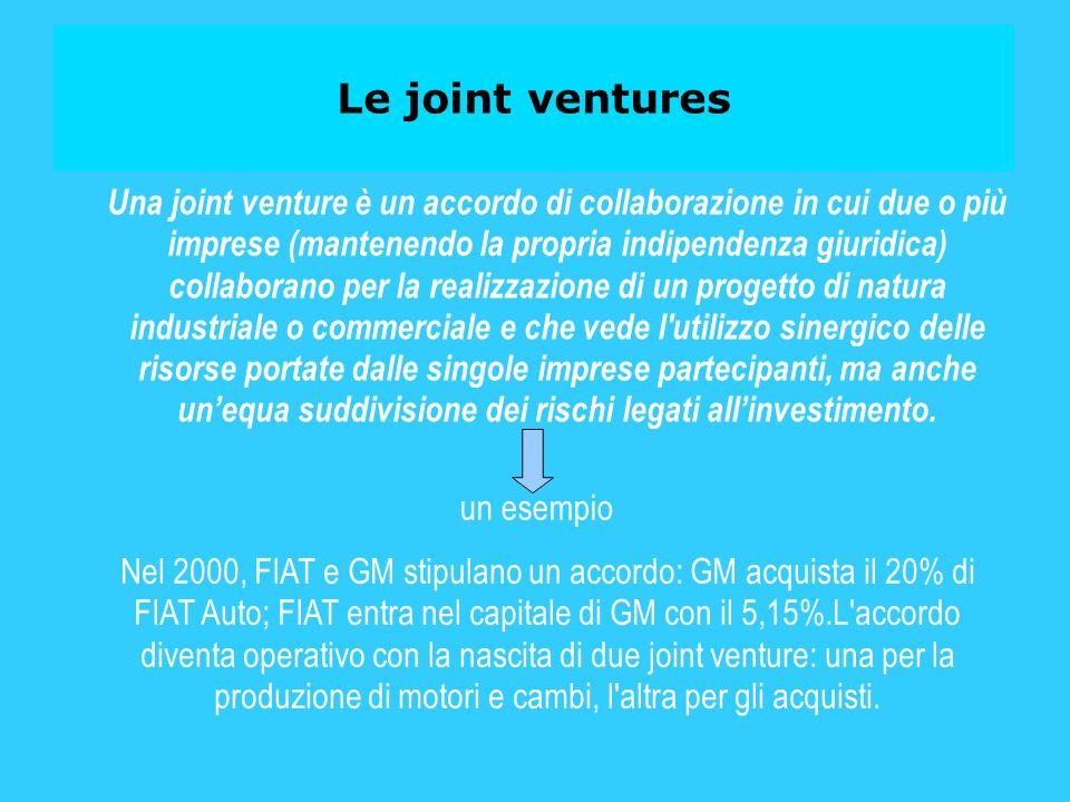 Le joint ventures Una joint venture è un accordo di collaborazione in cui due o più imprese (mantenendo la propria indipendenza giuridica) collaborano