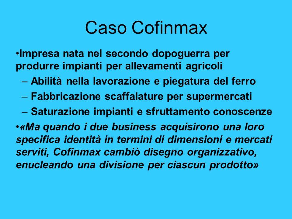 Caso Cofinmax Impresa nata nel secondo dopoguerra per produrre impianti per allevamenti agricoli –Abilità nella lavorazione e piegatura del ferro –Fab