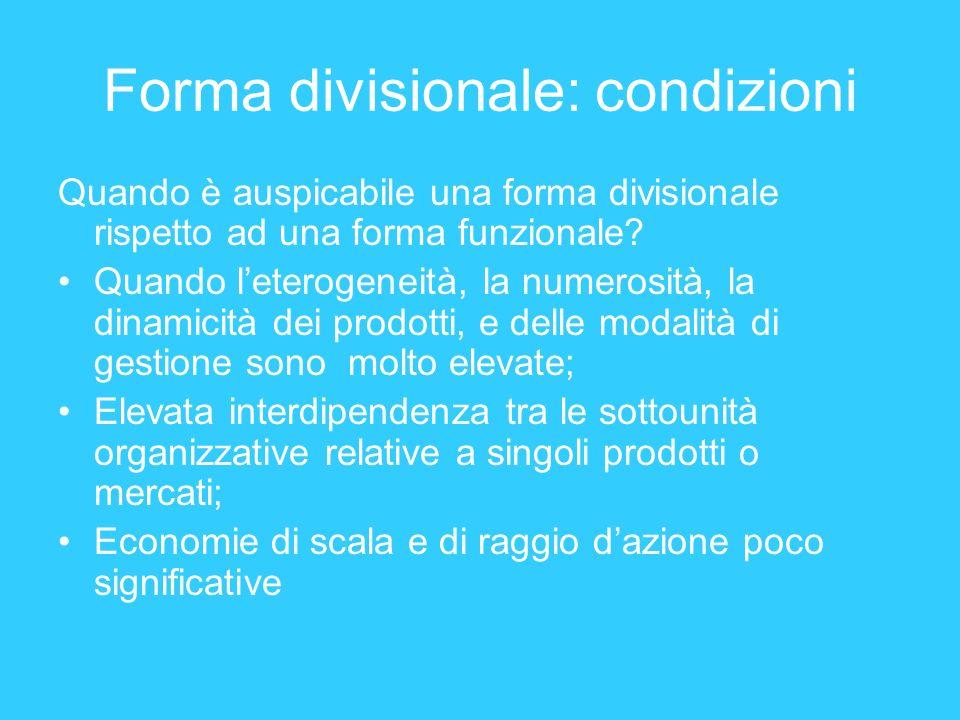 Forma divisionale: condizioni Quando è auspicabile una forma divisionale rispetto ad una forma funzionale? Quando leterogeneità, la numerosità, la din