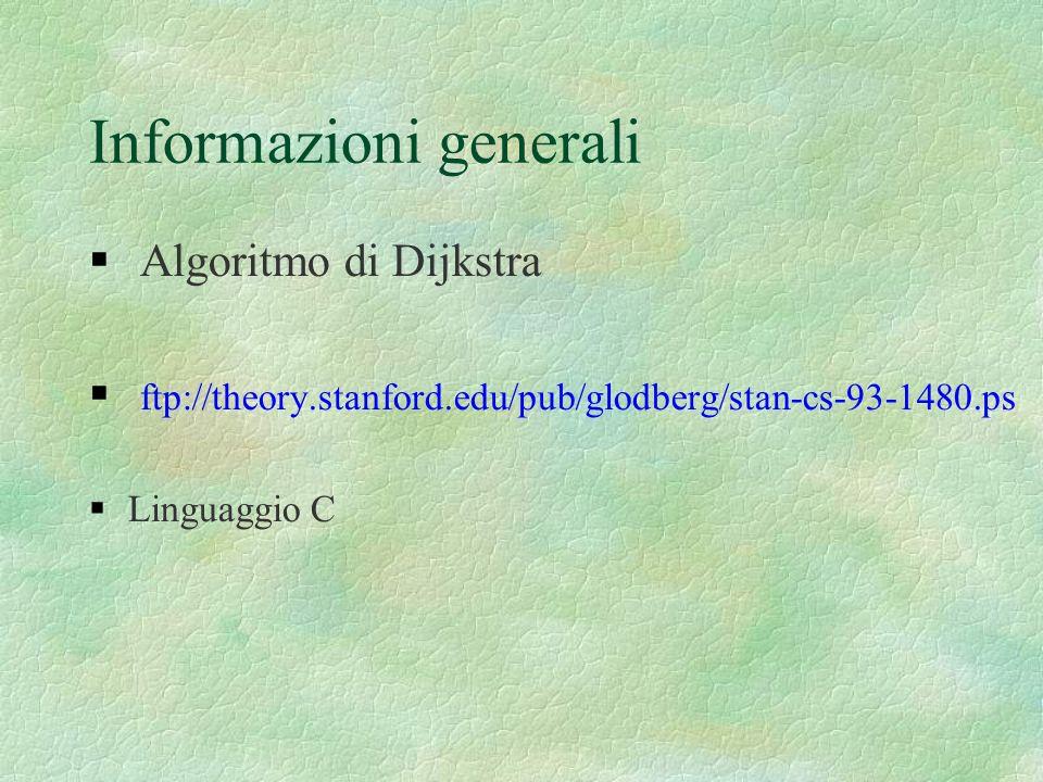 Informazioni generali Algoritmo di Dijkstra ftp://theory.stanford.edu/pub/glodberg/stan-cs-93-1480.ps Linguaggio C