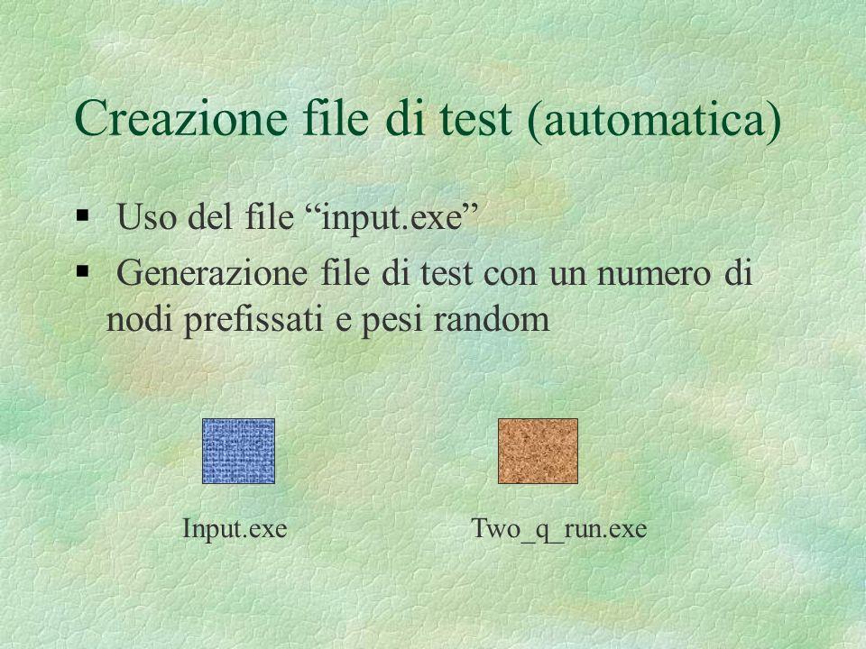 Creazione file di test (automatica) Uso del file input.exe Generazione file di test con un numero di nodi prefissati e pesi random Input.exeTwo_q_run.
