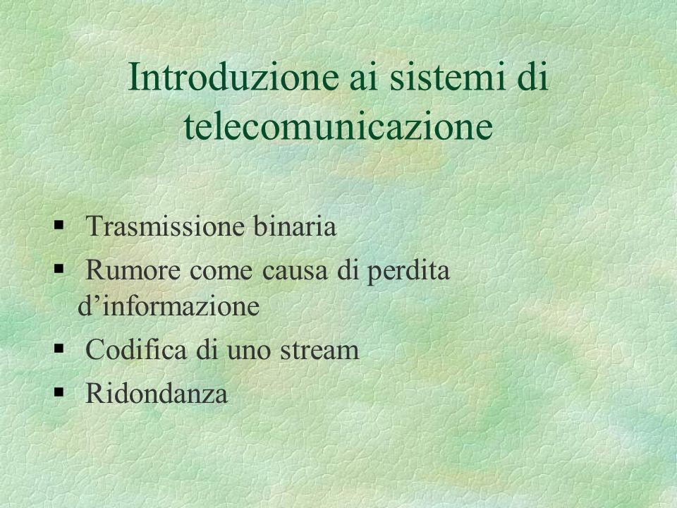 Introduzione ai sistemi di telecomunicazione Trasmissione binaria Rumore come causa di perdita dinformazione Codifica di uno stream Ridondanza