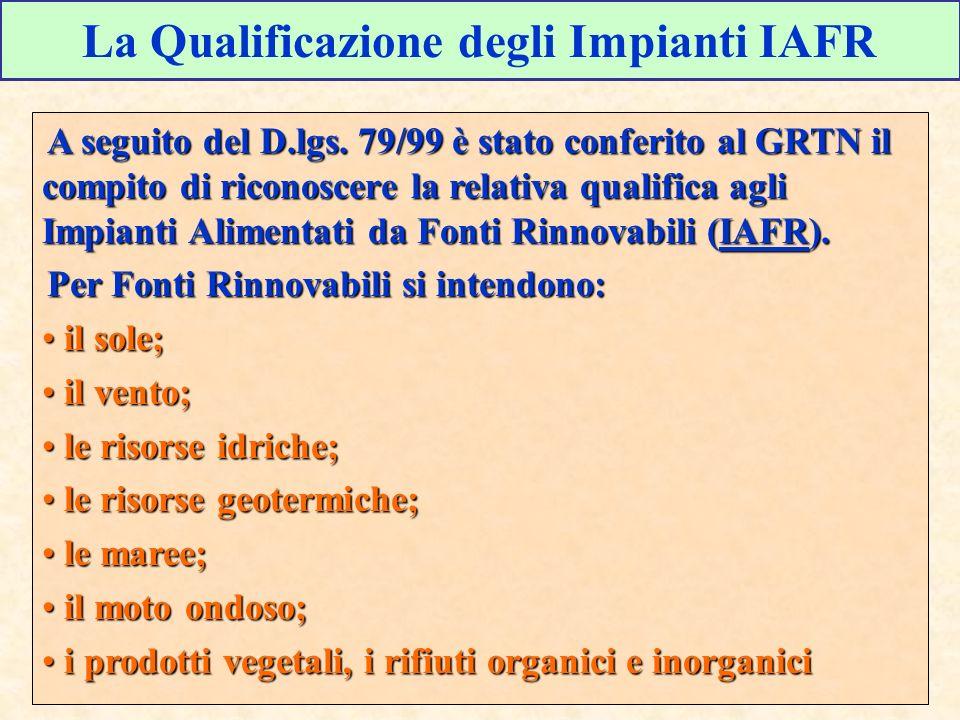 La Qualificazione degli Impianti IAFR A seguito del D.lgs. 79/99 è stato conferito al GRTN il compito di riconoscere la relativa qualifica agli Impian