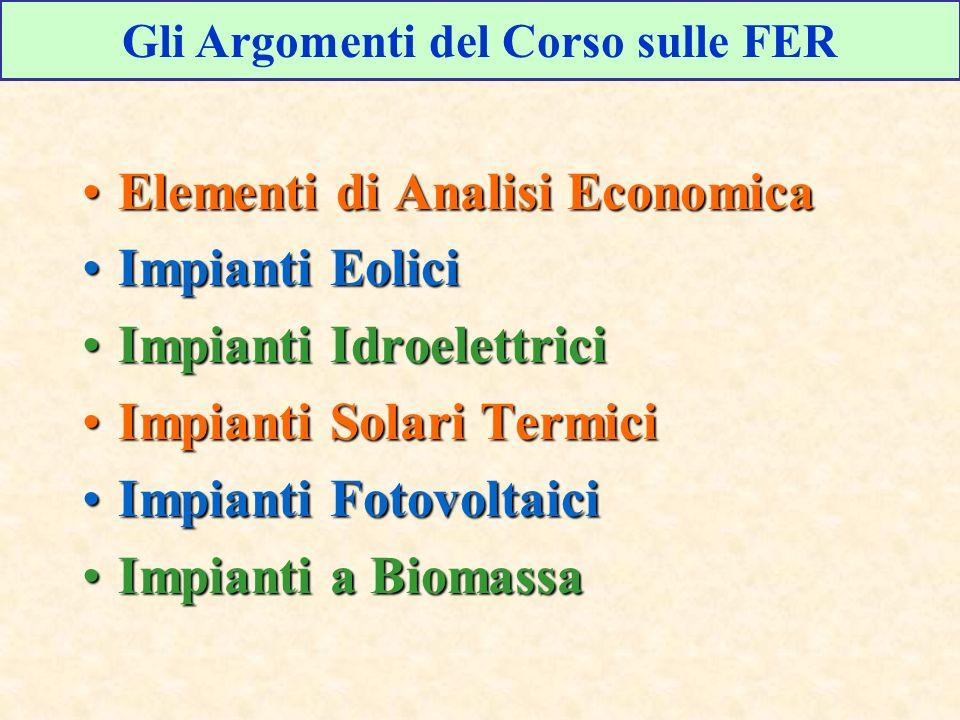Gli Argomenti del Corso sulle FER Elementi di Analisi EconomicaElementi di Analisi Economica Impianti EoliciImpianti Eolici Impianti IdroelettriciImpi