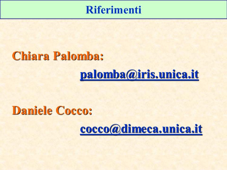 Riferimenti Chiara Palomba: palomba@iris.unica.it Daniele Cocco: cocco@dimeca.unica.it