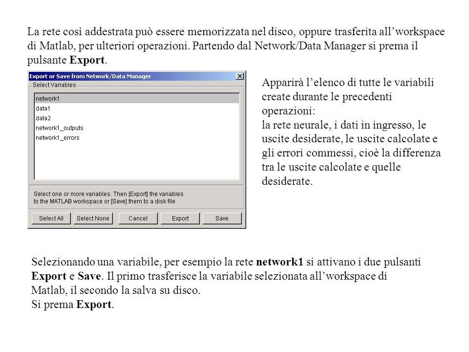 La rete così addestrata può essere memorizzata nel disco, oppure trasferita allworkspace di Matlab, per ulteriori operazioni.