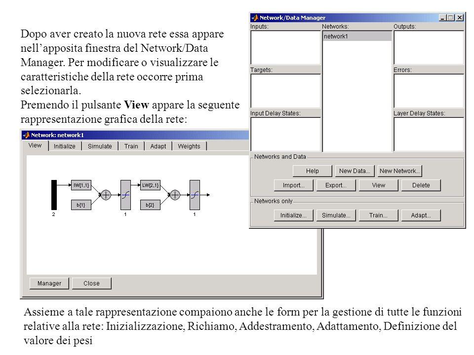 Dopo aver creato la nuova rete essa appare nellapposita finestra del Network/Data Manager.