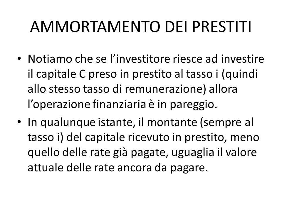 AMMORTAMENTO DEI PRESTITI Notiamo che se linvestitore riesce ad investire il capitale C preso in prestito al tasso i (quindi allo stesso tasso di remu
