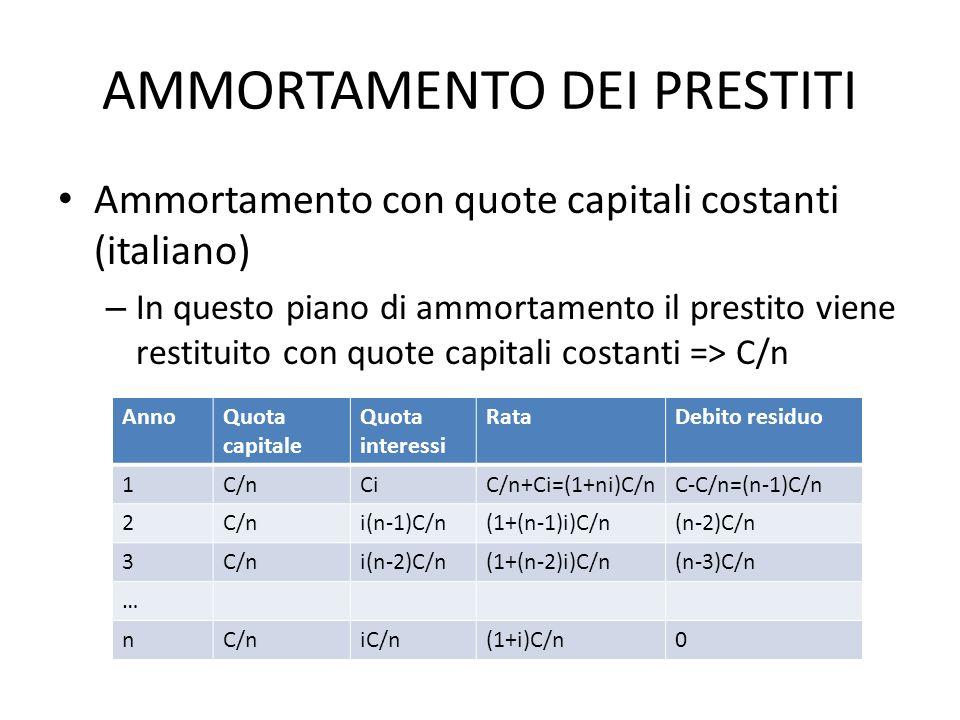 AMMORTAMENTO DEI PRESTITI Ammortamento con quote capitali costanti (italiano) – In questo piano di ammortamento il prestito viene restituito con quote