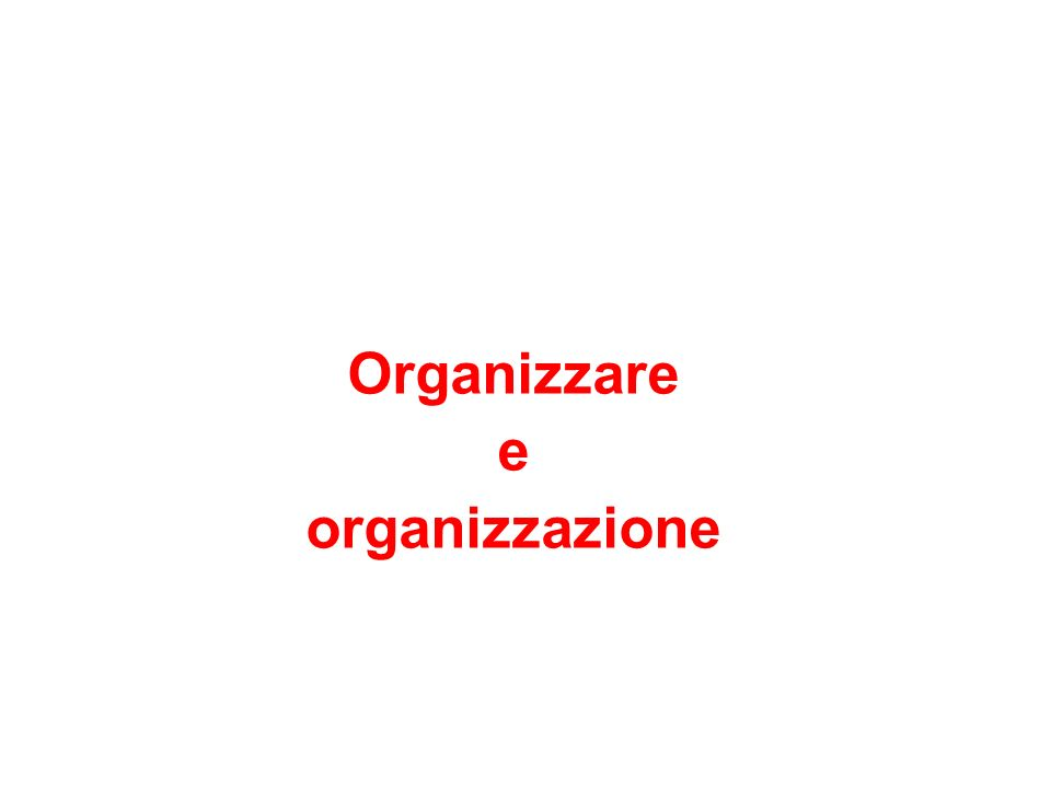 Organizzare e organizzazione