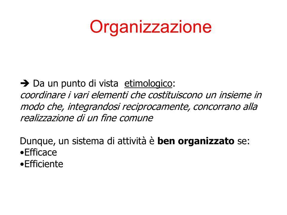 Organizzazione Da un punto di vista etimologico: coordinare i vari elementi che costituiscono un insieme in modo che, integrandosi reciprocamente, concorrano alla realizzazione di un fine comune Dunque, un sistema di attività è ben organizzato se: Efficace Efficiente