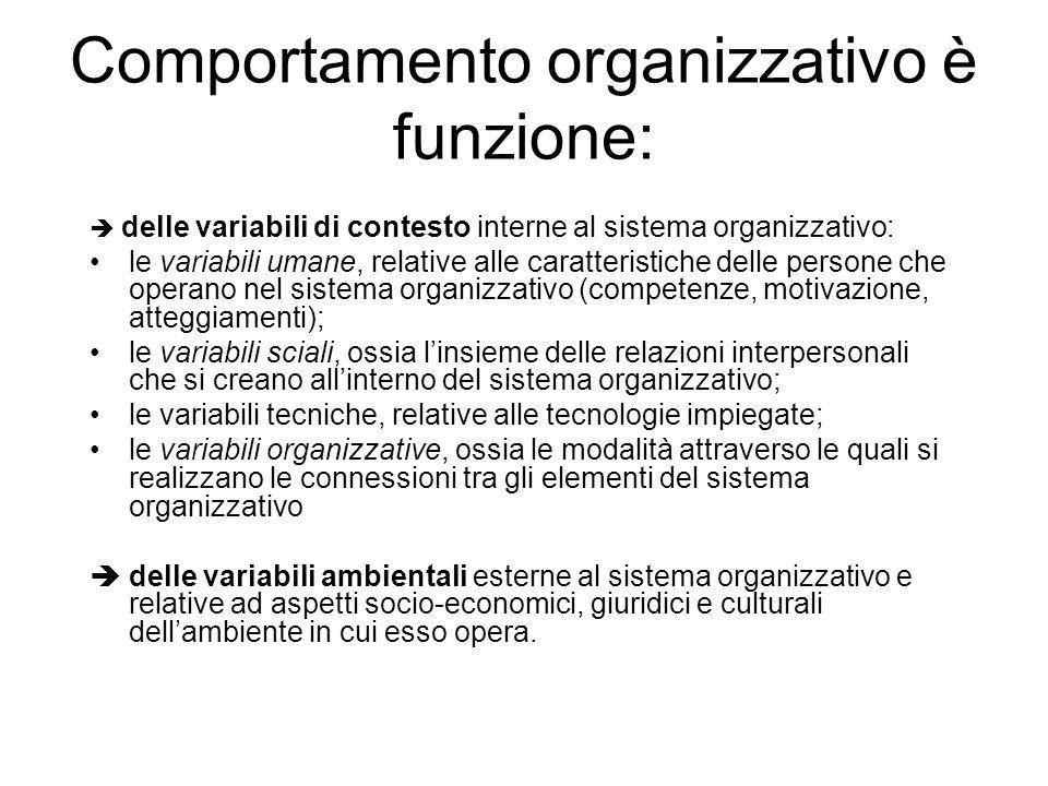 Comportamento organizzativo è funzione: delle variabili di contesto interne al sistema organizzativo: le variabili umane, relative alle caratteristiche delle persone che operano nel sistema organizzativo (competenze, motivazione, atteggiamenti); le variabili sciali, ossia linsieme delle relazioni interpersonali che si creano allinterno del sistema organizzativo; le variabili tecniche, relative alle tecnologie impiegate; le variabili organizzative, ossia le modalità attraverso le quali si realizzano le connessioni tra gli elementi del sistema organizzativo delle variabili ambientali esterne al sistema organizzativo e relative ad aspetti socio-economici, giuridici e culturali dellambiente in cui esso opera.