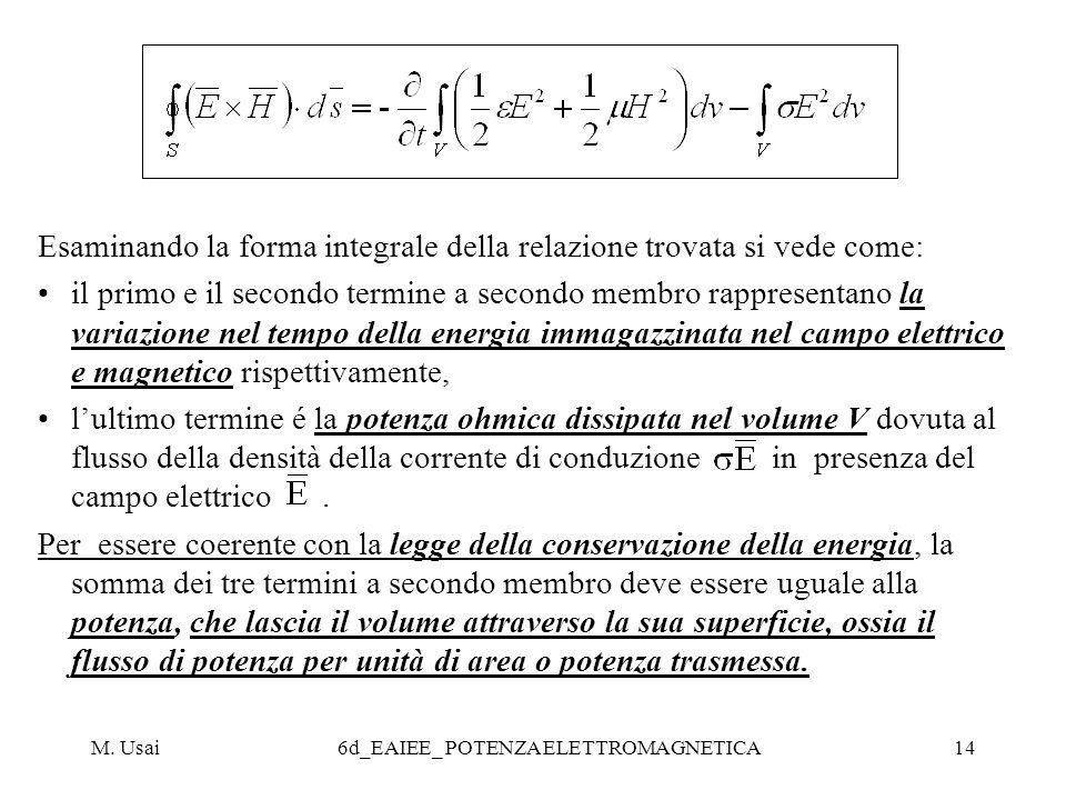 M. Usai6d_EAIEE_ POTENZA ELETTROMAGNETICA14 Esaminando la forma integrale della relazione trovata si vede come: il primo e il secondo termine a second