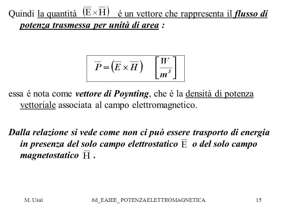 M. Usai6d_EAIEE_ POTENZA ELETTROMAGNETICA15 Quindi la quantità é un vettore che rappresenta il flusso di potenza trasmessa per unità di area : essa é