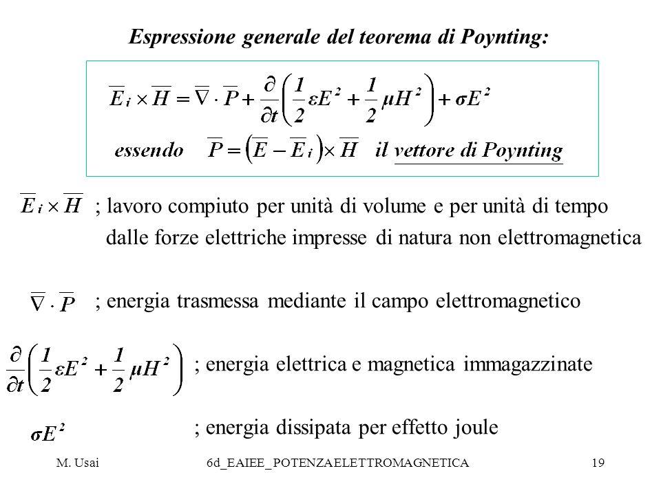 M. Usai6d_EAIEE_ POTENZA ELETTROMAGNETICA19 Espressione generale del teorema di Poynting: ; lavoro compiuto per unità di volume e per unità di tempo d