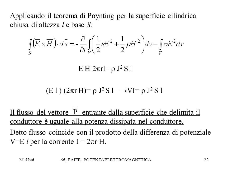M. Usai6d_EAIEE_ POTENZA ELETTROMAGNETICA22 Applicando il teorema di Poynting per la superficie cilindrica chiusa di altezza l e base S: E H 2 rl= J 2