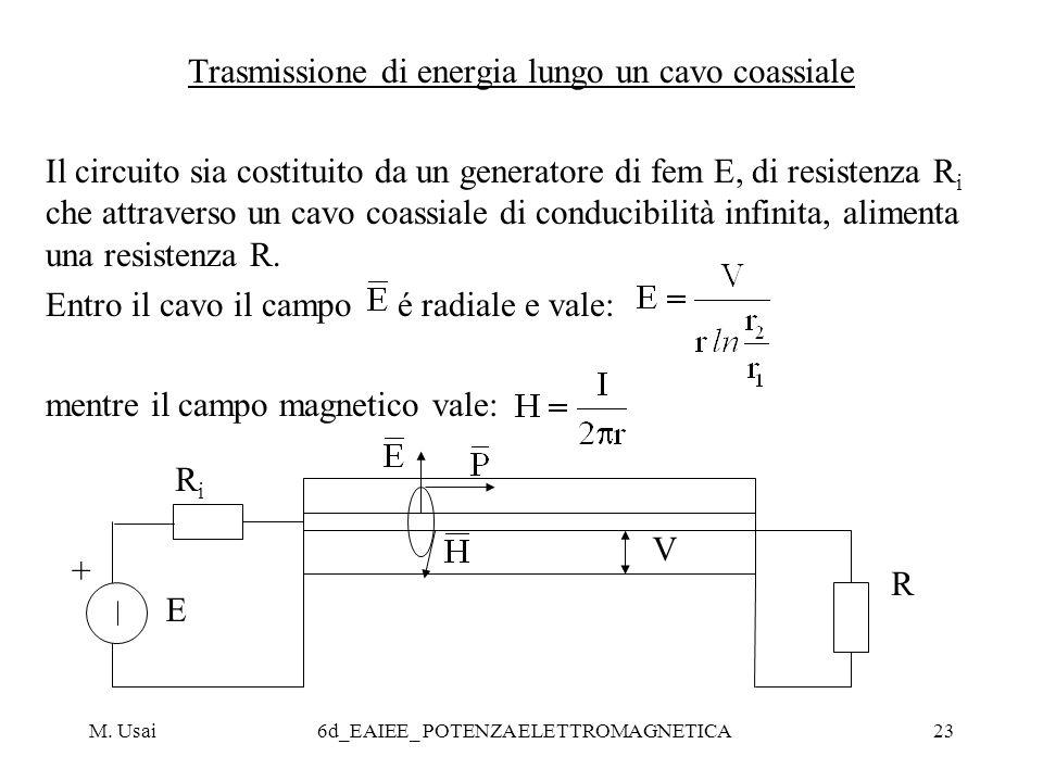 M. Usai6d_EAIEE_ POTENZA ELETTROMAGNETICA23 Trasmissione di energia lungo un cavo coassiale Il circuito sia costituito da un generatore di fem E, di r