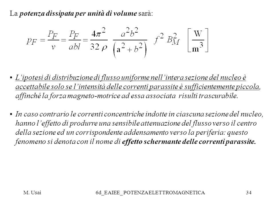 M. Usai6d_EAIEE_ POTENZA ELETTROMAGNETICA34 La potenza dissipata per unità di volume sarà: Lipotesi di distribuzione di flusso uniforme nellintera sez