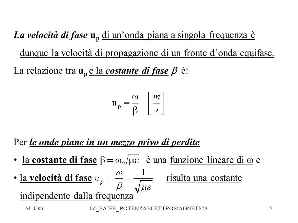 M. Usai6d_EAIEE_ POTENZA ELETTROMAGNETICA5 La velocità di fase u p di unonda piana a singola frequenza è dunque la velocità di propagazione di un fron