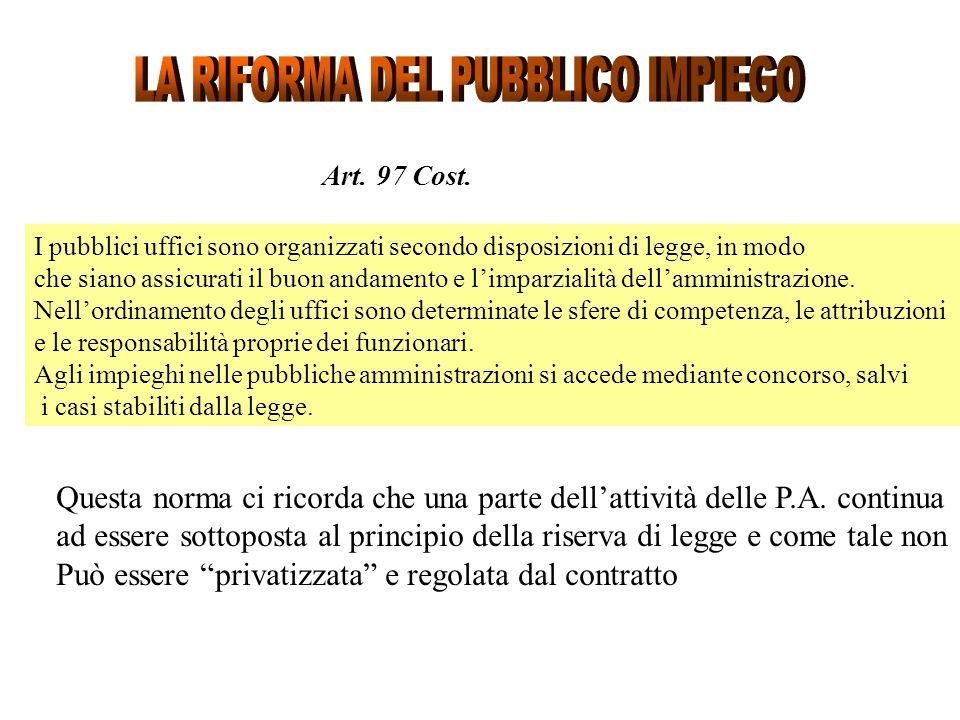 Art. 97 Cost. I pubblici uffici sono organizzati secondo disposizioni di legge, in modo che siano assicurati il buon andamento e limparzialità dellamm
