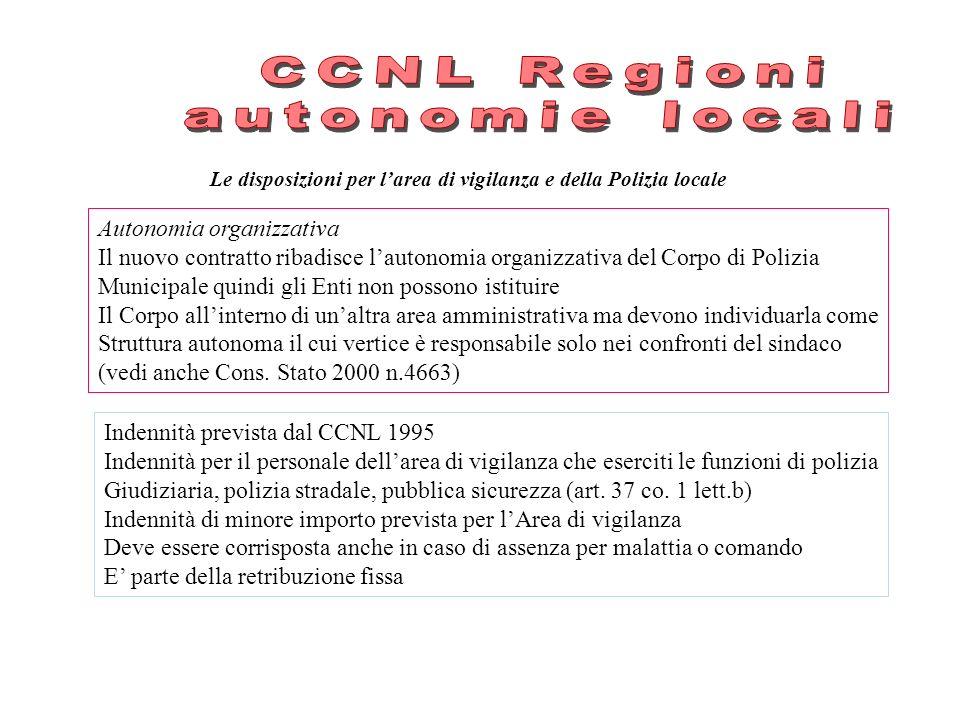 Le disposizioni per larea di vigilanza e della Polizia locale Autonomia organizzativa Il nuovo contratto ribadisce lautonomia organizzativa del Corpo
