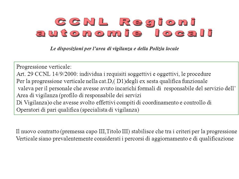 Le disposizioni per larea di vigilanza e della Polizia locale Progressione verticale: Art. 29 CCNL 14/9/2000: individua i requisiti soggettivi e ogget