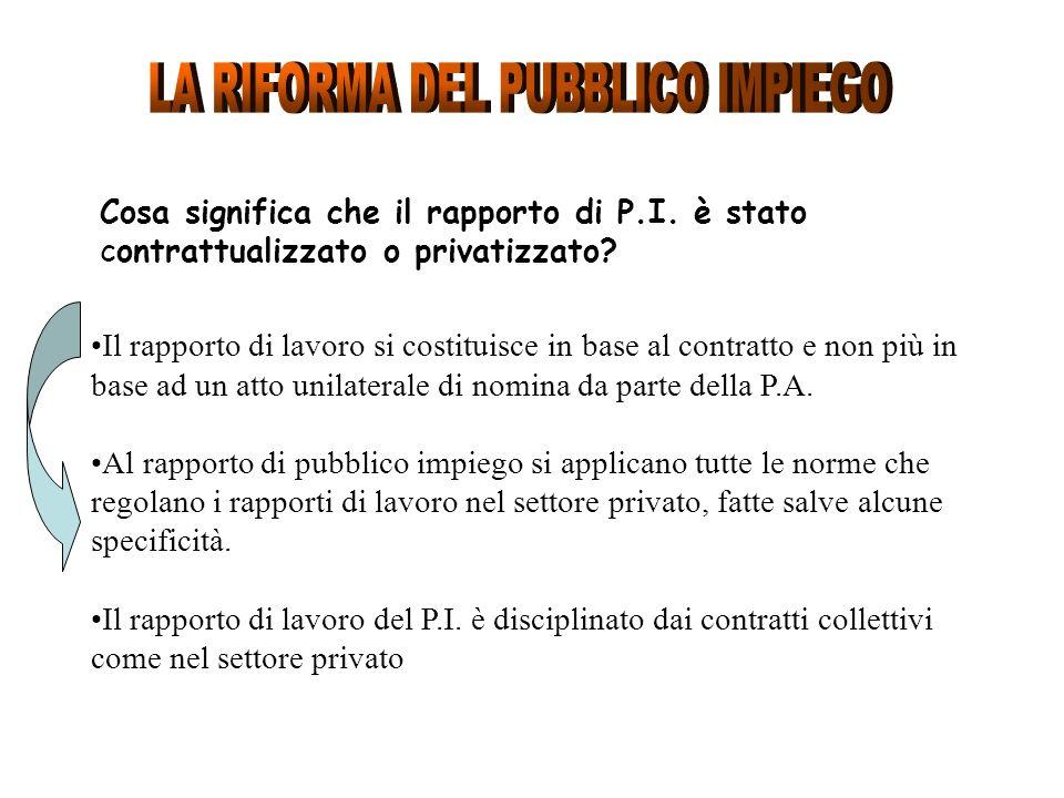 Cosa significa che il rapporto di P.I. è stato contrattualizzato o privatizzato? Il rapporto di lavoro si costituisce in base al contratto e non più i