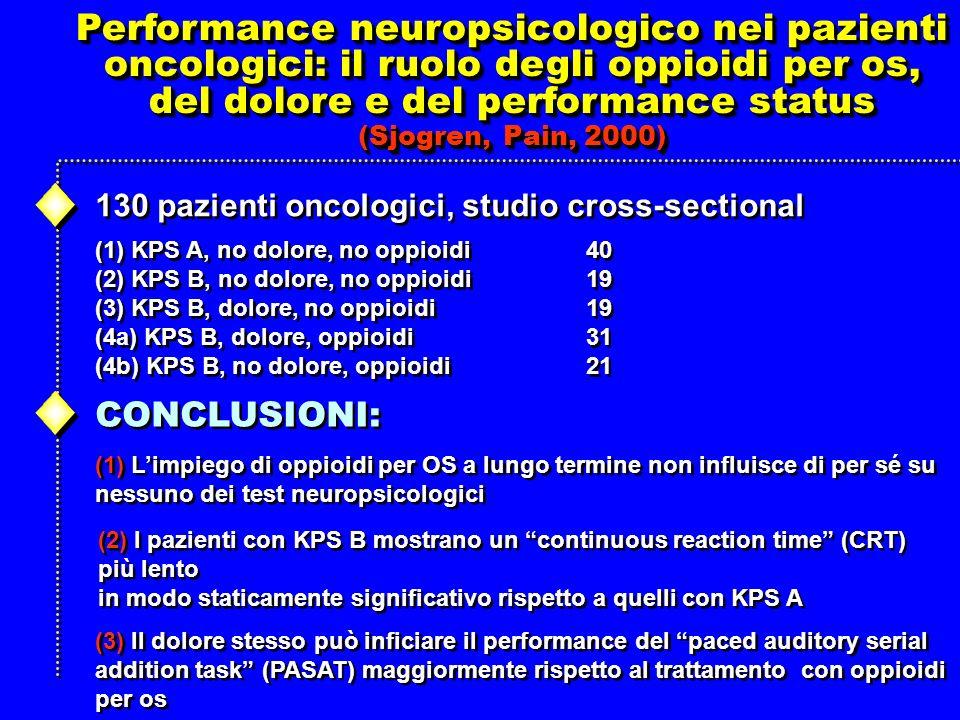 Performance neuropsicologico nei pazienti oncologici: il ruolo degli oppioidi per os, del dolore e del performance status (Sjogren, Pain, 2000) Performance neuropsicologico nei pazienti oncologici: il ruolo degli oppioidi per os, del dolore e del performance status (Sjogren, Pain, 2000) 130 pazienti oncologici, studio cross-sectional (1) KPS A, no dolore, no oppioidi (2) KPS B, no dolore, no oppioidi (3) KPS B, dolore, no oppioidi (4a) KPS B, dolore, oppioidi (4b) KPS B, no dolore, oppioidi (1) KPS A, no dolore, no oppioidi (2) KPS B, no dolore, no oppioidi (3) KPS B, dolore, no oppioidi (4a) KPS B, dolore, oppioidi (4b) KPS B, no dolore, oppioidi 40 19 31 21 40 19 31 21 CONCLUSIONI: (1) Limpiego di oppioidi per OS a lungo termine non influisce di per sé su nessuno dei test neuropsicologici (1) Limpiego di oppioidi per OS a lungo termine non influisce di per sé su nessuno dei test neuropsicologici (2) I pazienti con KPS B mostrano un continuous reaction time (CRT) più lento in modo staticamente significativo rispetto a quelli con KPS A (2) I pazienti con KPS B mostrano un continuous reaction time (CRT) più lento in modo staticamente significativo rispetto a quelli con KPS A (3) Il dolore stesso può inficiare il performance del paced auditory serial addition task (PASAT) maggiormente rispetto al trattamento con oppioidi per os