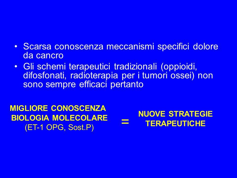 Scarsa conoscenza meccanismi specifici dolore da cancro Gli schemi terapeutici tradizionali (oppioidi, difosfonati, radioterapia per i tumori ossei) non sono sempre efficaci pertanto MIGLIORE CONOSCENZA BIOLOGIA MOLECOLARE (ET-1 OPG, Sost.P) NUOVE STRATEGIE TERAPEUTICHE =