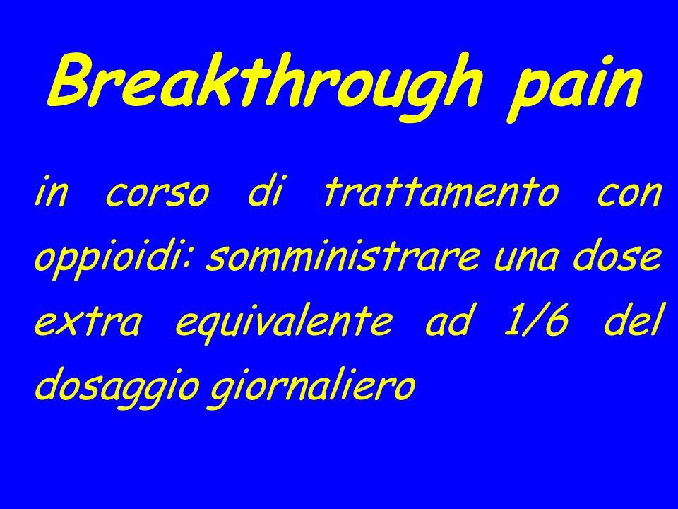 Breakthrough pain in corso di trattamento con oppioidi: somministrare una dose extra equivalente ad 1/6 del dosaggio giornaliero