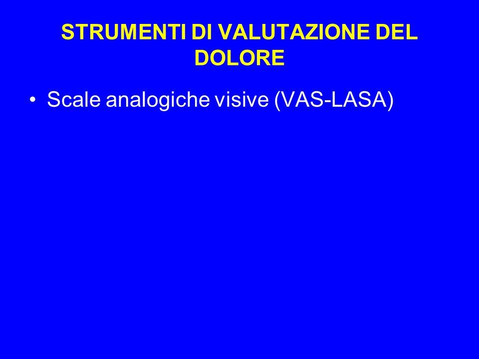 STRUMENTI DI VALUTAZIONE DEL DOLORE Scale analogiche visive (VAS-LASA)