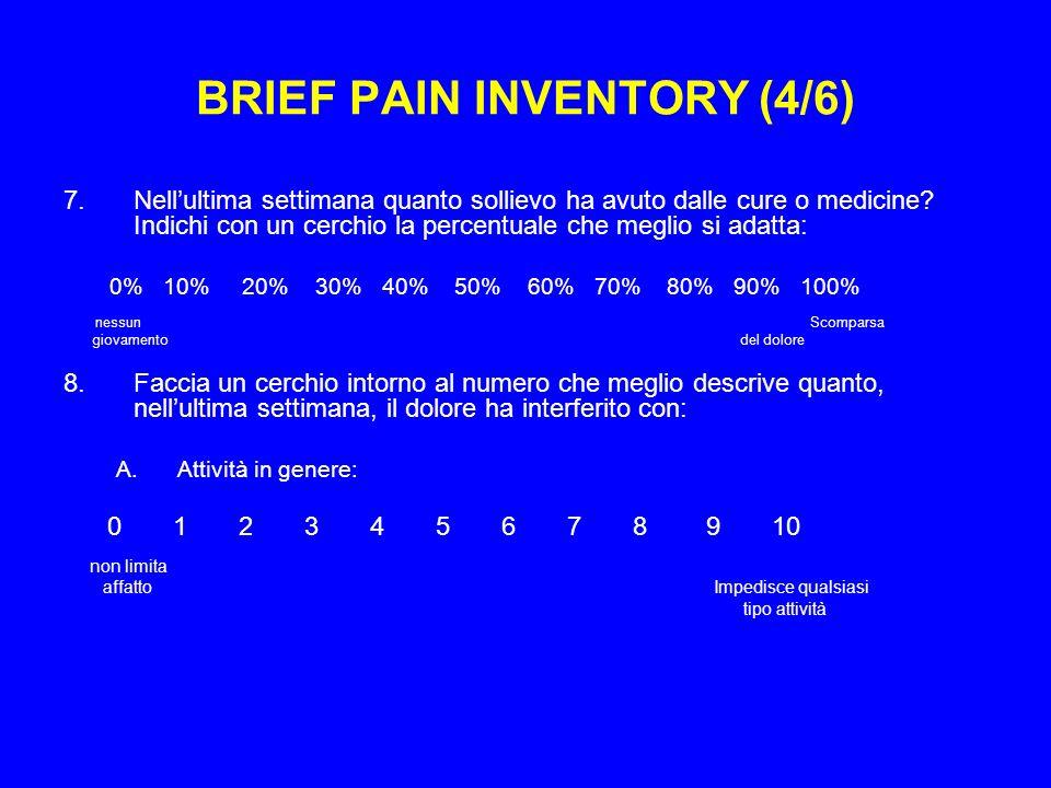 BRIEF PAIN INVENTORY (4/6) 7.Nellultima settimana quanto sollievo ha avuto dalle cure o medicine.
