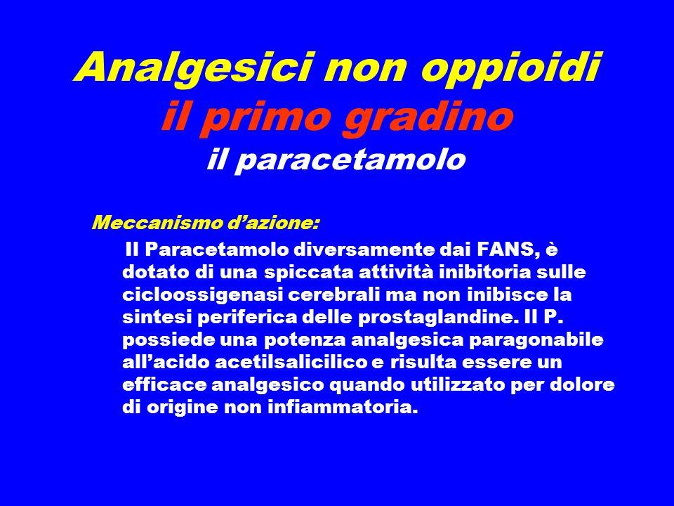 Analgesici non oppioidi il primo gradino il paracetamolo Meccanismo dazione: Il Paracetamolo diversamente dai FANS, è dotato di una spiccata attività inibitoria sulle cicloossigenasi cerebrali ma non inibisce la sintesi periferica delle prostaglandine.