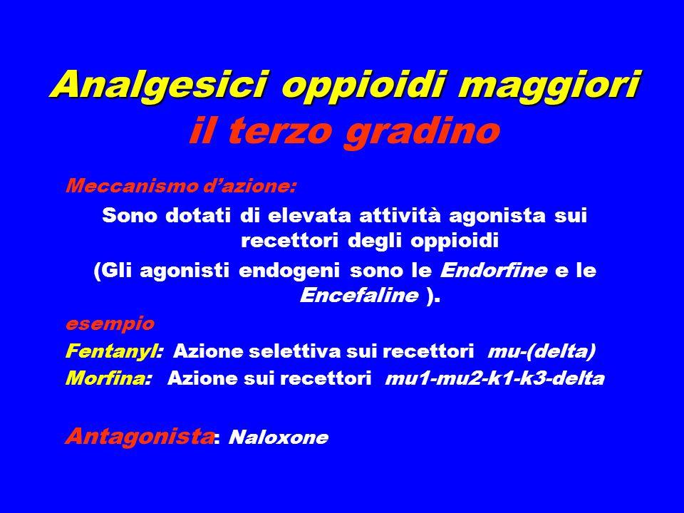 Analgesici oppioidi maggiori Analgesici oppioidi maggiori il terzo gradino Meccanismo dazione: Sono dotati di elevata attività agonista sui recettori degli oppioidi (Gli agonisti endogeni sono le Endorfine e le Encefaline ).