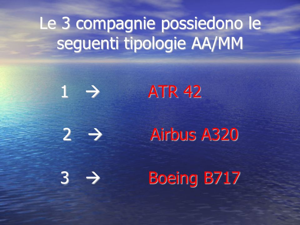 Le 3 compagnie possiedono le seguenti tipologie AA/MM 1 ATR 42 2 Airbus A320 3 Boeing B717