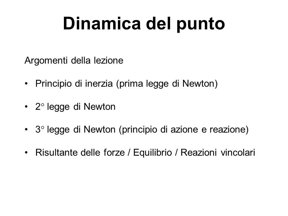 Dinamica del punto Argomenti della lezione Principio di inerzia (prima legge di Newton) 2° legge di Newton 3° legge di Newton (principio di azione e r