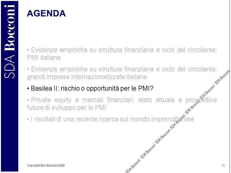 Copyright SDA Bocconi 2006 11 AGENDA Evidenze empiriche su struttura finanziaria e ciclo del circolante: PMI italiane Evidenze empiriche su struttura