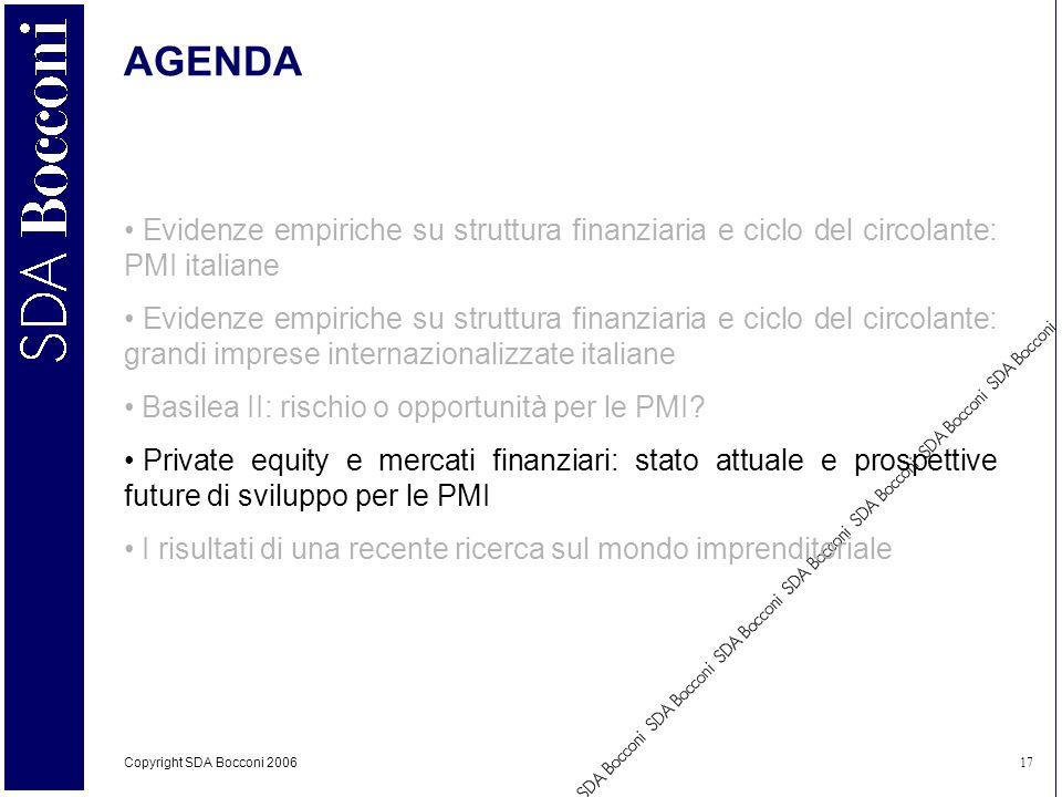Copyright SDA Bocconi 2006 17 AGENDA Evidenze empiriche su struttura finanziaria e ciclo del circolante: PMI italiane Evidenze empiriche su struttura