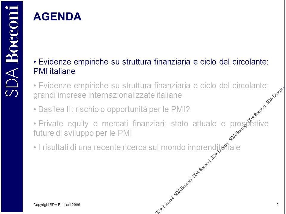 Copyright SDA Bocconi 2006 2 AGENDA Evidenze empiriche su struttura finanziaria e ciclo del circolante: PMI italiane Evidenze empiriche su struttura f