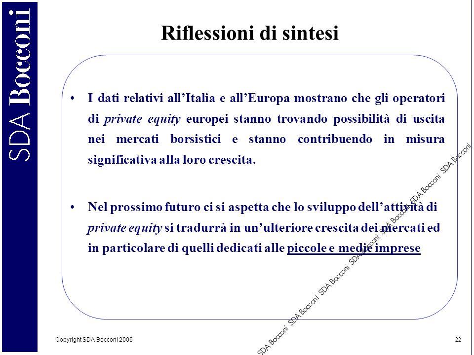 Copyright SDA Bocconi 2006 22 I dati relativi allItalia e allEuropa mostrano che gli operatori di private equity europei stanno trovando possibilità d