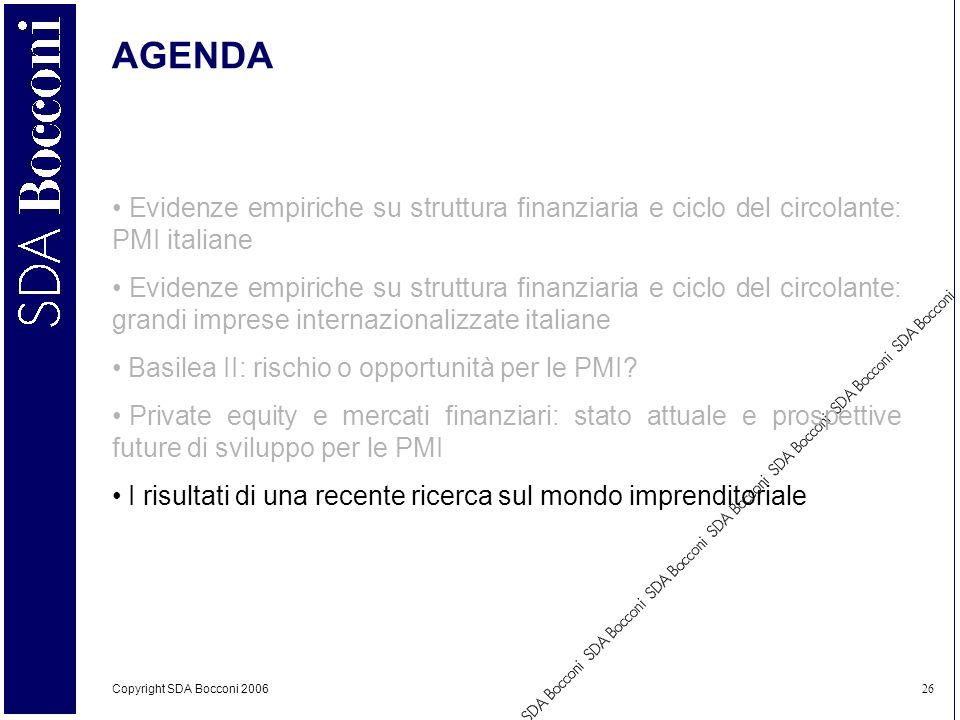 Copyright SDA Bocconi 2006 26 AGENDA Evidenze empiriche su struttura finanziaria e ciclo del circolante: PMI italiane Evidenze empiriche su struttura