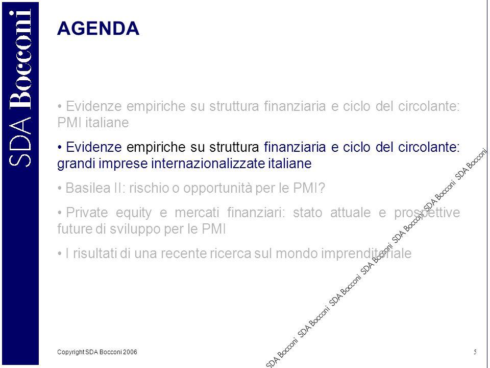 Copyright SDA Bocconi 2006 5 AGENDA Evidenze empiriche su struttura finanziaria e ciclo del circolante: PMI italiane Evidenze empiriche su struttura f