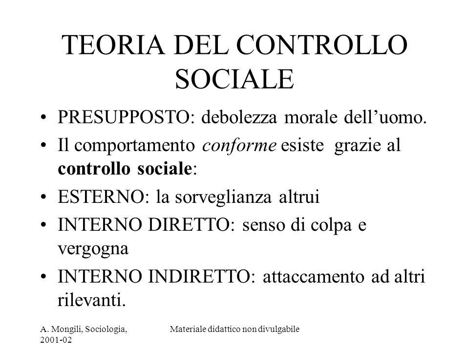A. Mongili, Sociologia, 2001-02 Materiale didattico non divulgabile TEORIA DEL CONTROLLO SOCIALE PRESUPPOSTO: debolezza morale delluomo. Il comportame