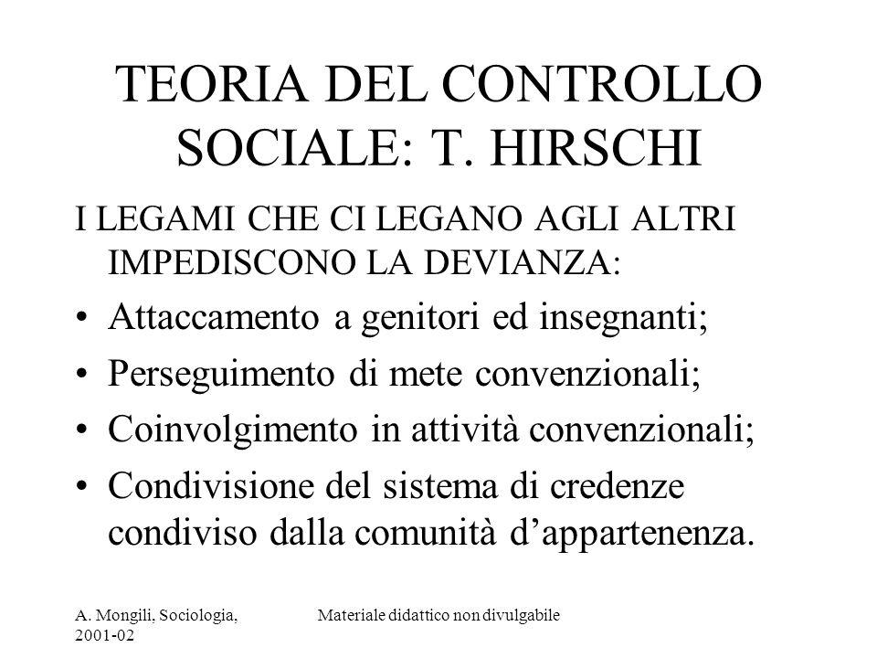 A. Mongili, Sociologia, 2001-02 Materiale didattico non divulgabile TEORIA DEL CONTROLLO SOCIALE: T. HIRSCHI I LEGAMI CHE CI LEGANO AGLI ALTRI IMPEDIS