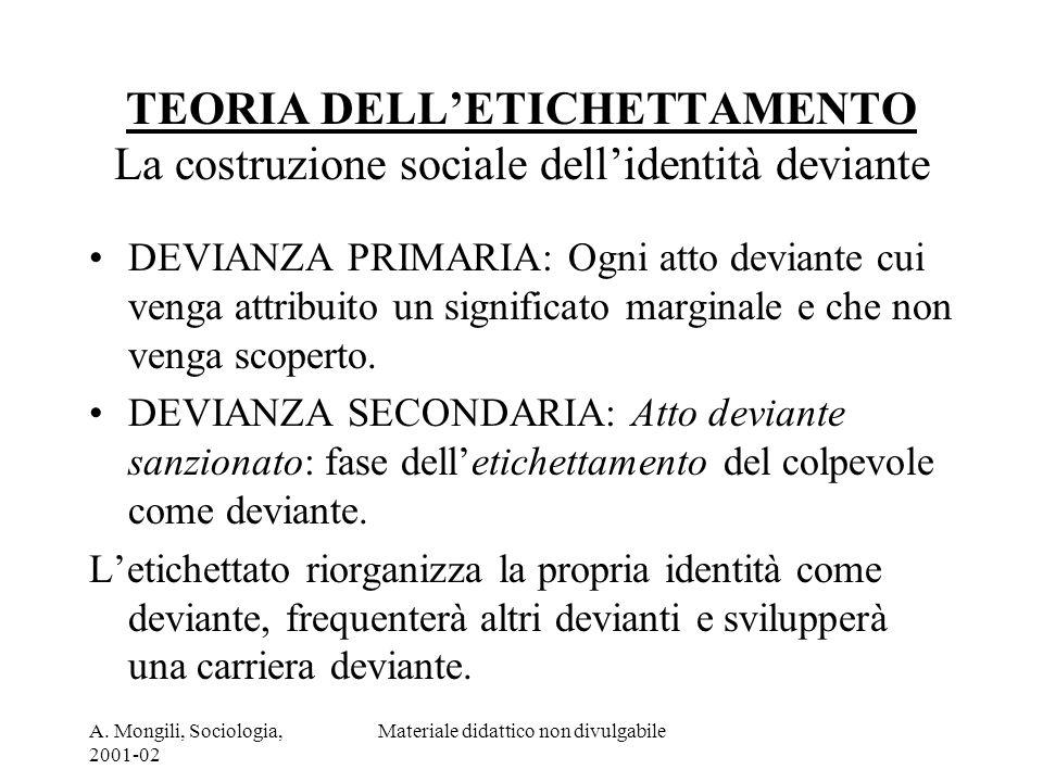 A. Mongili, Sociologia, 2001-02 Materiale didattico non divulgabile TEORIA DELLETICHETTAMENTO La costruzione sociale dellidentità deviante DEVIANZA PR