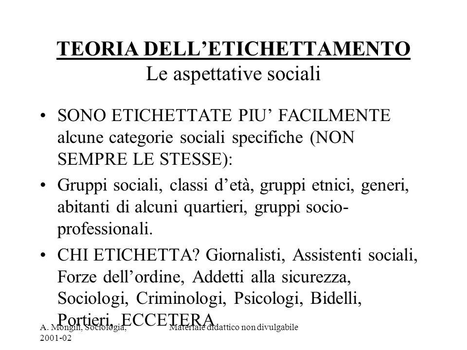 A. Mongili, Sociologia, 2001-02 Materiale didattico non divulgabile TEORIA DELLETICHETTAMENTO Le aspettative sociali SONO ETICHETTATE PIU FACILMENTE a