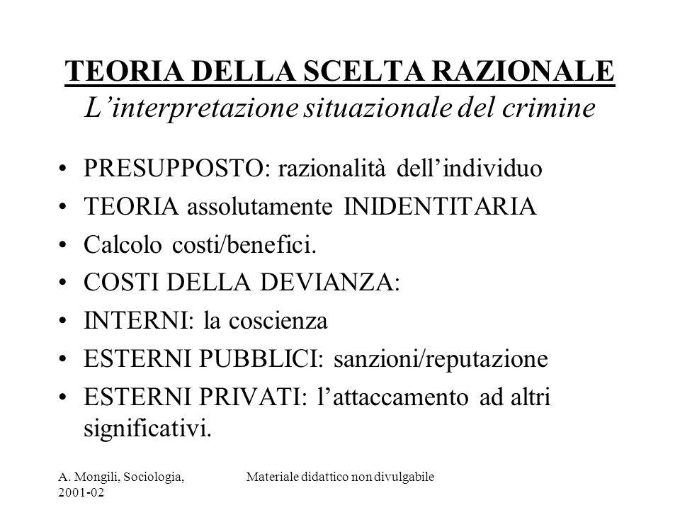 A. Mongili, Sociologia, 2001-02 Materiale didattico non divulgabile TEORIA DELLA SCELTA RAZIONALE Linterpretazione situazionale del crimine PRESUPPOST